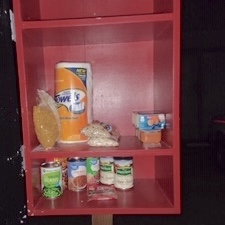 Food on a red shelf